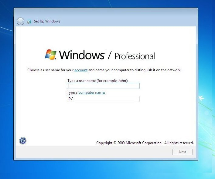 Fresh & clean Install of Win7 Professional on a new hard drive